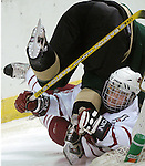 UNO's Bill Bagron trips Wayne State's  Ryan Wright behind the net.  Wright had just knocked Bagron down.