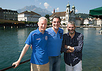 FC Luzern v St Johnstone...16.07.14  Europa League 2nd Round Qualifier<br /> Fans arrive in Lucerne...from left, Brothers Steve and Michael Clark with Roddy Ross, behind them is the Theatre Platz.<br /> Picture by Graeme Hart.<br /> Copyright Perthshire Picture Agency<br /> Tel: 01738 623350  Mobile: 07990 594431