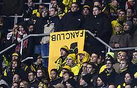 FUSSBALL   1. BUNDESLIGA   SAISON 2012/2013   17. SPIELTAG   TSG 1899 Hoffenheim - Borussia Dortmund      16.12.2012           Fanprotest 12-12;  Borussia Dortmund Fans schweigen aus Protest gegen das DFL Sicherheitskonzept und mit umgekehrten Fanclub-Banner