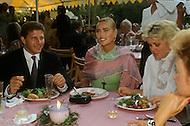 Ketchum, Idaho, U.S.A, August, 5th,1989. Margaux Hemingway and friends at her father's, Jack Hemingway,   wedding party.