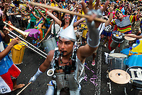 Drum players (bateria) of the Orquestra Voadora band perform during the carnival street party in Flamengo, Rio de Janeiro, Brazil, 21 February 2012. Most of the carnival street parties in Rio are organized and run by Blocos. Each Bloco consists of a musical band and a group of partygoers. The Blocos, closely linked to the neighborhoods they come from, start their free-to-join parades early in January and continue throughout the carnival season. Playing usually their own samba song, backed up with a numerous bateria (drum and percussion players), Blocos are considered the beating heart of the Rio Carnival.