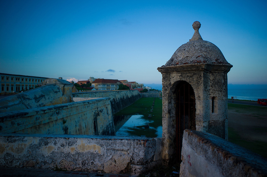 Along the fortified walls that surround the historic city of Cartagena, Colombia.