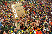 """Green Bay Packers fans bare sub-zero temperatures during the NFC Championship game at Lambeau against the Carolina Panthers on January 12, 1997 as the Pack cruised to a 30-13 win at Lambeau Field. This was the first title game in Green Bay since the """"Ice Bowl"""" in 1967."""