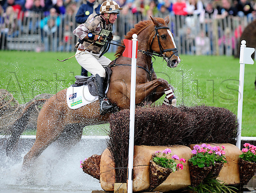 2009 Mitsubishi Motors Badminton Horse Trials.Baminton UK.The Cross country phase:.Matt Ryan (AUS) riding Bonza Puzzle.At the lake complex.The 3 day event was won by Oliver Townend (GBR) riding Flint Curtis..