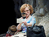 Happy Days <br /> by Samuel Beckett <br /> at The Young Vic, London, Great Britain <br /> press photocall <br /> 18th February 2015 <br /> <br /> Juliet Stevenson as Winnie<br /> <br /> David Beames as Willie <br /> <br /> <br /> Photograph by Elliott Franks <br /> Image licensed to Elliott Franks Photography Services
