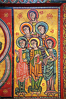 Altar of La Seu d'Urgell and the Apostles<br /> <br /> Second quarter of the twelfth century from a church in the diocese of Urgell, the whole poster espicopal of La Seu d'Urgell, Alt Urgell<br /> <br /> Aquired by the National Art Museum of Catalonia, Barcelona 1905. Ref: 15803 MNAC.<br /> <br /> <br /> La Seu d'Urgell was an important center of Romanesque panel painting. This altar front is one of the best examples, and is also one of the oldest preserved painted panels in Catalonia. At its centre is Christ Pantocrator surrounded by a Mandorla. Either side of this are the 12 Apostles arranged in two unusual pyramid shaped groups of six. This altar panel is a fine example from the workshop Urgell and demostrates a high standard of technical ability and creativity.