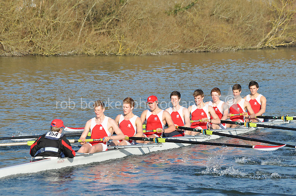 154 SEN.8+ Radley College..Reading University Boat Club Head of the River 2012. Eights only. 4.6Km downstream on the Thames form Dreadnaught Reach and Pipers Island, Reading. Saturday 25 February 2012.