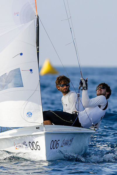 SANTANDER, SPAIN - SEPTEMBER 14:  470 Men - USA1713 - Stu Mcnay / Dave Hughes in action during Day 3 of the 2014 ISAF Sailing World Championships on September 14, 2014 in Santander, Spain.  (Photo by MickAnderson/SAILINGPIX via Getty Images)