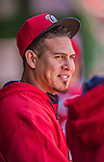 6 April 2014: Washington Nationals catcher Wilson Ramos walks in the dugout during a game against the Atlanta Braves at Nationals Park in Washington, DC. The Nationals defeated the Braves 2-1 to salvage the last game of their 3-game series. Mandatory Credit: Ed Wolfstein Photo *** RAW (NEF) Image File Available ***