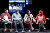 Another World <br /> Losing Our Children To Islamic State <br /> directed by Nicholas Kent <br /> at Temporary Theatre, National Theatre, Southbank, London, Great Britain<br /> Press photocall <br /> 14th April 2016 <br /> <br /> <br /> Zara Azam / Lara Sawalha / Ronak Patani / Fashid Rokey <br /> as students <br /> <br /> <br /> Photograph by Elliott Franks <br /> Image licensed to Elliott Franks Photography Services
