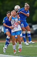 Boston Breakers defender Bianca D'Agostino (19), Chicago Red Stars defender/midfielder Julianne Sitch (38) and Boston Breakers forward Kyah Simon (17) leap for a head ball.  The Boston Breakers beat the Chicago Red Stars 1-0 at Dilboy Stadium.