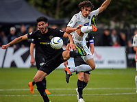Guillermo Moretti (Wellington, left) and Albert Riera contest the ball during the Oceania Football Championship final (second leg) football match between Team Wellington and Auckland City FC at David Farrington Park in Wellington, New Zealand on Sunday, 7 May 2017. Photo: Dave Lintott / lintottphoto.co.nz