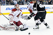 Ryan Smyth (Los Angeles Kings, #94) vs Ilya Bryzgalov (Phoenix Coyotes, #30) during ice-hockey match between Los Angeles Kings and Phoenix Coyotes in NHL league, March 3, 2011 at Staples Center, Los Angeles, USA. (Photo By Matic Klansek Velej / Sportida.com)