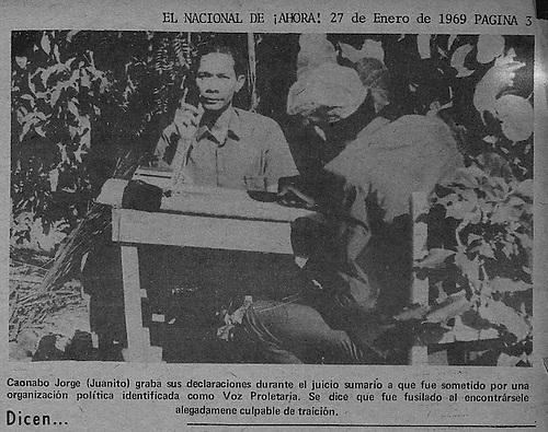 El espia Juanito El Lagarto, mientras era interrogado por sus captores.