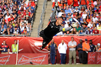 United States goalkeeper Tim Howard (1) dives for a ball. The men's national team of Spain (ESP) defeated the United States (USA) 4-0 during a International friendly at Gillette Stadium in Foxborough, MA, on June 04, 2011.