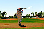28 February 2010: Washington Nationals Third Base Coach Pat Listach hits infield pop-up drills during Spring Training at the Carl Barger Baseball Complex in Viera, Florida. Mandatory Credit: Ed Wolfstein Photo