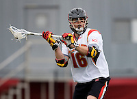 Dean Hart (16) of Maryland looks for a pass while playing Penn at Ludwig Field in College Park, Maryland.