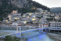 Houses of the Mangalem quarter with the bridge over the Osum river, in Berat, South-Central Albania, capital of the District of Berat and the County of Berat. In July 2008, the old town (Mangalem district) was listed as a UNESCO World Heritage Site. Picture by Manuel Cohen