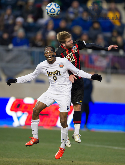 Dec 15, 2013; Notre Dame forward Leon Brown goes up for the ball against Maryland defender Jereme Raley celebrates in the College Cup championship in Chester, Pa. Photo by Barbara Johnston/University of Notre Dame