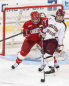Monika Leck (Cornell - 27), Alex Carpenter (BC - 5) - The Boston College Eagles defeated the visiting Cornell University Big Red 4-3 (OT) on Sunday, January 11, 2012, at Kelley Rink in Conte Forum in Chestnut Hill, Massachusetts.