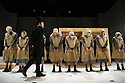 London, UK. 16.09.2015. JANE EYRE, a co-production with the Bristol Old Vic, directed by Sally Cookson, opens at the National Theatre. Picture shows: Craig Edwards (Mr Brocklehurst), and the company. Photograph © Jane Hobson.