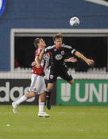 DC United defender Carrey Talley (3) heads the ball.     DC United defeated Chivas USA 3-2 at RFK Stadium, Saturday  May 29, 2010.