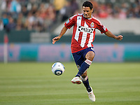 CD Chivas USA defender Ante Jazic (6) playes a ball off to a teammate. The Philadelphia Union and CD Chivas USA played to 1-1 draw at Home Depot Center stadium in Carson, California on Saturday evening July 3, 2010..