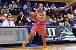 04 February 2016: Virginia's Mikayla Venson. The Duke University Blue Devils hosted the University of Virginia Cavaliers at Cameron Indoor Stadium in Durham, North Carolina in a 2015-16 NCAA Division I Women's Basketball game. Both teams wore pink as part of the annual Play4Kay game in support of the Kay Yow Cancer Fund. Duke won the game 67-52.