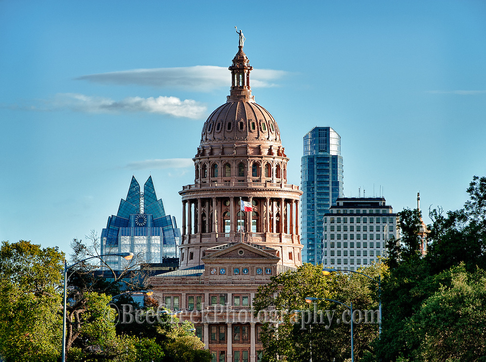 Texas Capital with the Frost building and The Austonian