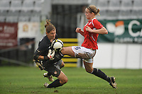 US Women's National Team goalie Nicole Barnhart collides with a Norwegian player while making a save in the USA 2-1 victory over Norway in Olhao, Portugal during the 2010 Algarve Cup.