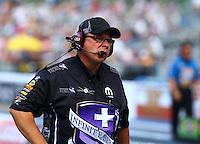 Jun 21, 2015; Bristol, TN, USA; Crew chief Jimmy Prock for NHRA funny car driver Jack Beckman during the Thunder Valley Nationals at Bristol Dragway. Mandatory Credit: Mark J. Rebilas-