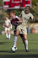 Florida State midfielder Tori Huster (10) and Boston College forward Kristen Mewis (19) battle. Florida State University defeated Boston College, 1-0, at Newton Soccer Field, Newton, MA on October 31, 2010.