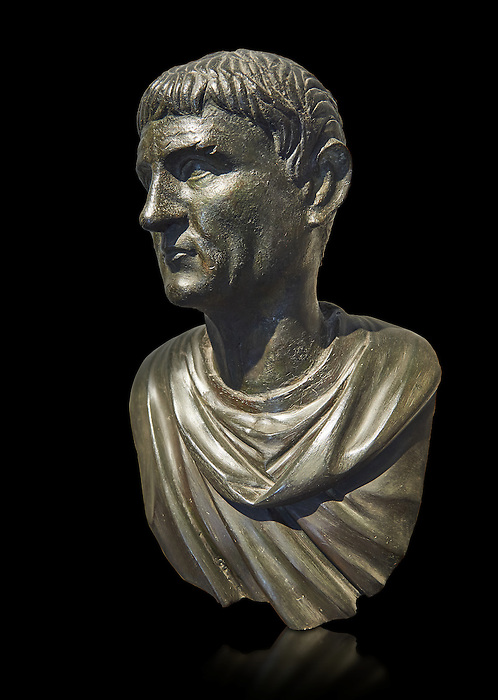 "Roman Bronze sculpture bust known as 'Sylla"" from the tablinum of the Villa of the Papyri in Herculaneum, Museum of Archaeology, Italy, black background"