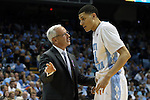 14 November 2014: UNC head coach Roy Williams (left) with Justin Jackson (44). The University of North Carolina Tar Heels played the North Carolina Central University Eagles in an NCAA Division I Men's basketball game at the Dean E. Smith Center in Chapel Hill, North Carolina. UNC won the game 76-60.