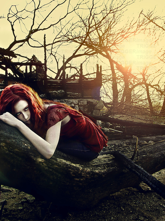 A girl laying on a fallen, burned tree amid a rubble from a burned house as the sun sets behind her..