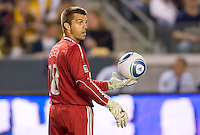 San Jose Earthquakes goalkeeper Jon Busch (18) looks for help from teammates. The LA Galaxy and the San Jose Earthquakes played to a 2-2 draw at Home Depot Center stadium in Carson, California on Thursday July 22, 2010.