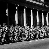 Members of the South African Defence Force march past the Gauteng Provincial Legislature marking their centenary.
