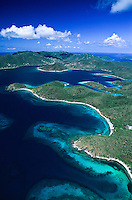 Aerial view of St John's east end and Hurricane Hole.U.S. Virgin Islands