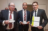 ***NO FEE PIC ***<br /> 23/04/2015<br /> (L to r) Peter Caprani Aon Risk Solutions, Karl Curran Aon Risk Solutions &amp; Eamonn O'Connor Editorial team The Irish Maritime TRansport Economist<br /> during the  launch by the Irish Maritime Development Office (IMDO) of its Irish Maritime Transport Economist report at the Morrison Hotel , Dublin.<br /> Photo:  Gareth Chaney Collins