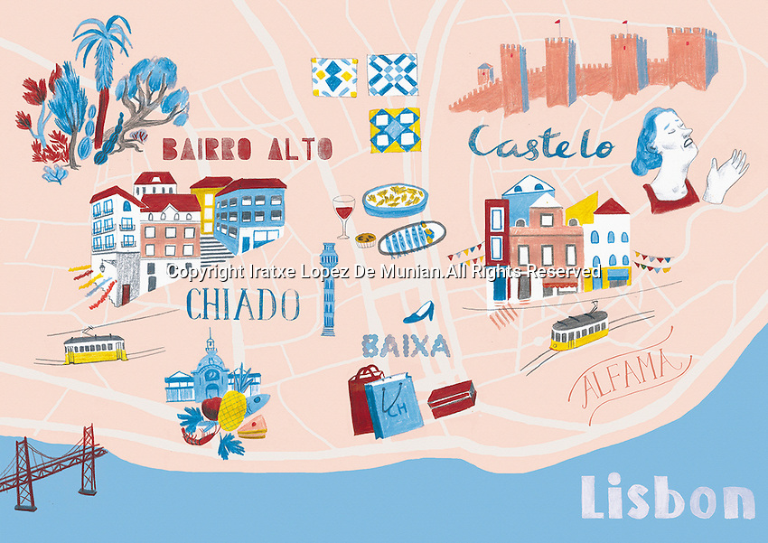 Illustrated map of Lisbon, Portugal
