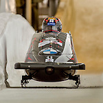 8 January 2016: Yunjong Won, piloting his 2-man bobsled for South Korea, enters the Chicane straightaway on his second run, ending the day with a combined 2-run time of 1:51.12 and earning a 3rd place finish at the BMW IBSF World Cup Championships at the Olympic Sports Track in Lake Placid, New York, USA. Mandatory Credit: Ed Wolfstein Photo *** RAW (NEF) Image File Available ***