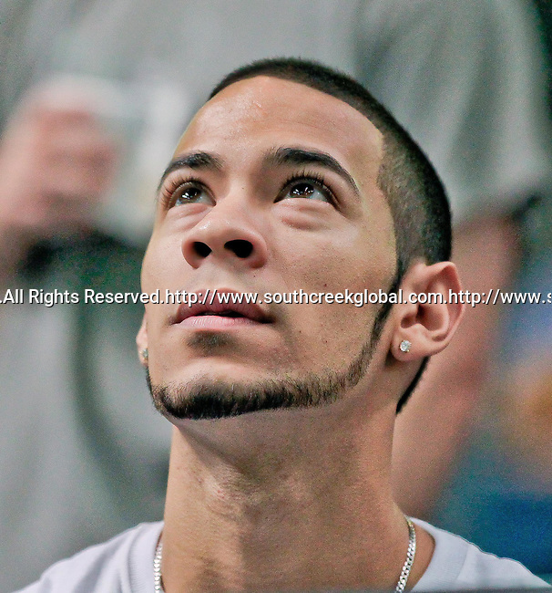 Aug 14, 2010: A Tampa Bay Storm fan watches as a lead against the Orlando Predators slips away. The Storm defeated the Predators 63-62 to win the division title at the St. Petersburg Times Forum in Tampa, Florida. (Mandatory Credit:  Margaret Bowles)