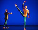"""London, UK. 20.11.2013. Michael Clark Company in a piece set to """"Albatross"""" by Public Image Limited, at the Barbican. Dancers are: Harry Alexander, Julie Cunningham, Melissa Hetherington, Oxana Panchenko, Daniel Squire and Benjamin Warbis.  Picture shows: Daniel Squire and Benjamin Warbis. Photograph © Jane Hobson."""