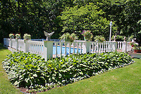 Hosta garden plantings next to swimming pool landscaping, deck, fence, lawn grass, home landscape, water