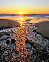 Sunset at Rock Creek at Cannon Beach Oregon