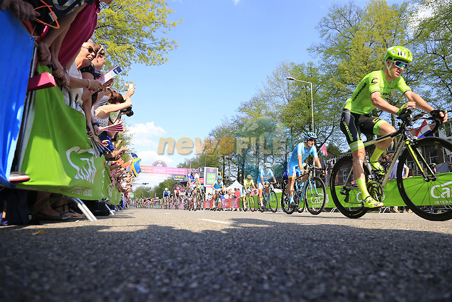 Riders cross the finish line in Nijmegen at the end of Stage 2 of the 2016 Giro d'Italia running 190km from Arnhem to Nijmegen, The Nethrerlands. 7th May 2016.<br /> Picture: Eoin Clarke | Newsfile<br /> <br /> <br /> All photos usage must carry mandatory copyright credit (&copy; Newsfile | Eoin Clarke)