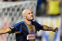 Conor Casey (6) of the Philadelphia Union celebrates scoring his second goal of the game. The Philadelphia Union defeated D. C. United 2-0 during a Major League Soccer (MLS) match at PPL Park in Chester, PA, on August 10, 2013.
