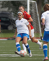Boston Breakers defender Bianca D'Agostino (19) passes the ball. In a Women's Premier Soccer League Elite (WPSL) match, the Boston Breakers defeated Western New York Flash, 3-2, at Dilboy Stadium on May 26, 2012.
