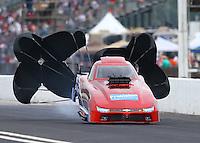 May 1, 2016; Baytown, TX, USA; NHRA top alcohol funny car driver Steve Gasparrelli during the Spring Nationals at Royal Purple Raceway. Mandatory Credit: Mark J. Rebilas-USA TODAY Sports