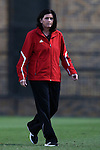 04 October 2014: Louisville head coach Karen Ferguson-Dayes. The Duke University Blue Devils hosted the University of Louisville Cardinals at Koskinen Stadium in Durham, North Carolina in a 2014 NCAA Division I Women's Soccer match. The game ended in a 0-0 tie after double overtime.